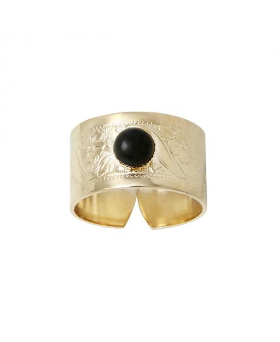 Bague ROMANE agate noire - 4 Crosses
