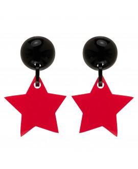 Boucles d'oreilles étoiles rouge à clip - Marion Godart