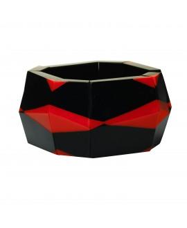Bracelet manchette élastique noir et rouge en résine - Marion Godart
