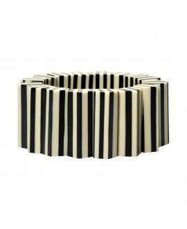 Bracelet manchette élastique à rayures ivoire et noir- MG