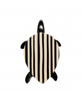 Broche tortue noir et blanc rayé - Marion Godart