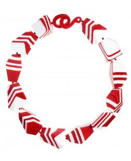 Collier blanc et rouge rayé en résine - Marion Godart