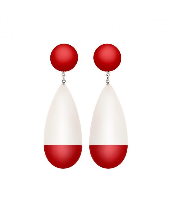 Boucles d'oreilles blanche et rouge rétro - Marion Godart