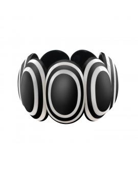 Bracelet noir et blanc rond en résine - Marion Godart
