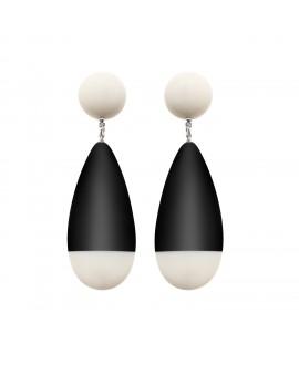 Boucles d'oreilles noire et blanche rétro - Marion Godart