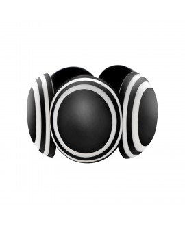 Bracelet noir et blanc ovale en résine - Marion Godart
