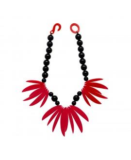 Collier Fleur de Lotus noir et rouge en résine - Marion Godart