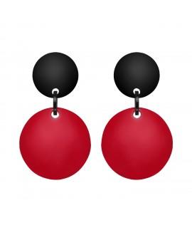 Boucles d'oreilles rouge et noir en résine Marion Godart