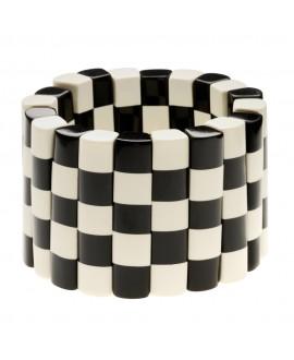 Bracelet damier noir et blanc XL en résine - Marion Godart