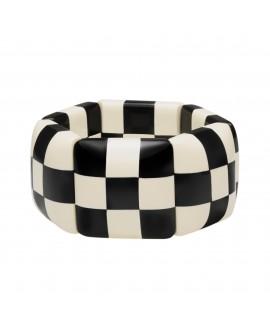 Bracelet élastique damier noir et blanc petit modèle en résine- Marion Godart