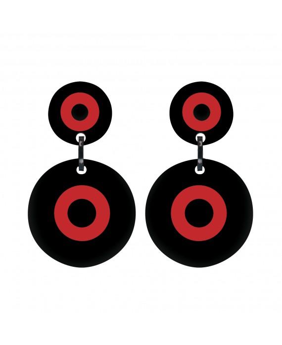 Boucles d'oreilles Cible Noir et rouge à clip 70' Marion Godart
