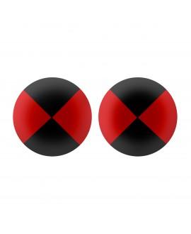 Boucles d'oreilles ronde damier noir et rouge en résine petit modèle Marion Godart