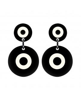Boucles d'oreilles Cible Noir et blanc en résine - Marion Godart