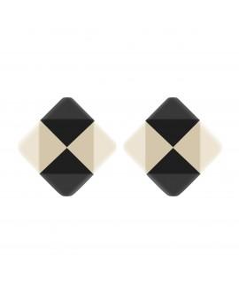Boucles d'oreilles losange noir et blanc en résine  - Marion Godart