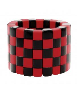Bracelet manchette élastique rouge et noir en résine - Marion Godart