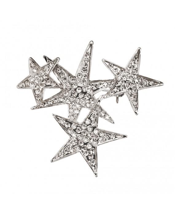 Broche Constellation étoiles Strass Blanc - Marion Godart