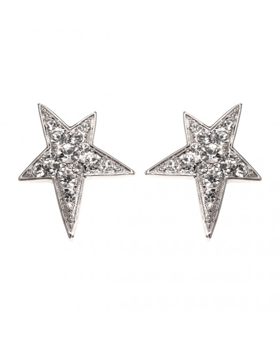 Boucles d'oreilles étoile Strass Blanc - Marion Godart