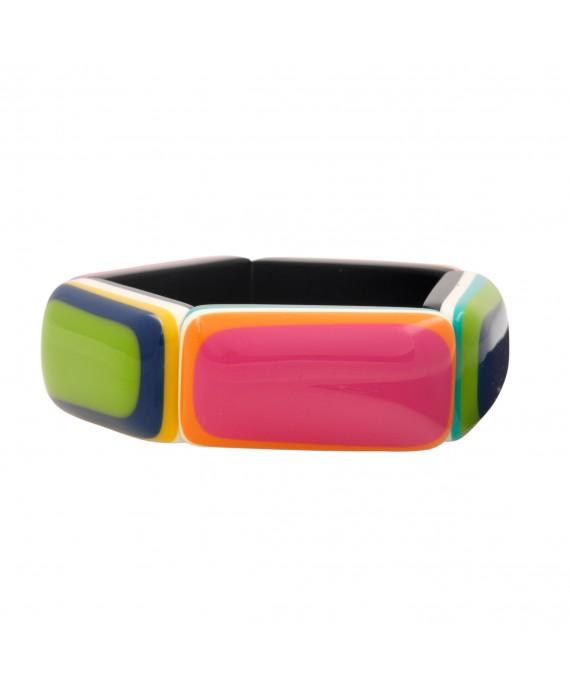 Bracelet élastique multi couleurs en résine - Marion Godart