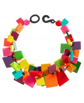 Collier ajustable carré multi couleurs en résine - Marion Godart