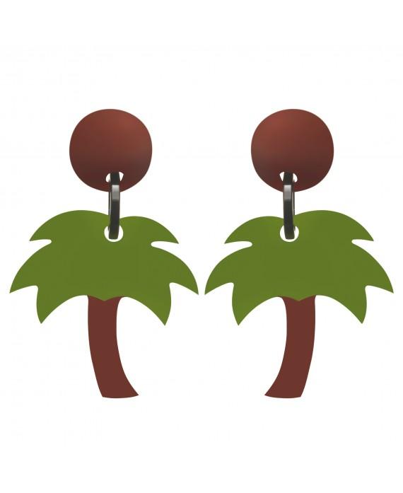 Boucles d'oreilles palmier à clip en résine - Marion Godart