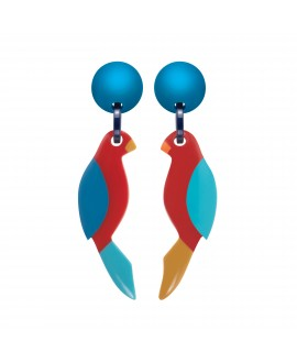boucles d'oreilles à clip perroquet bleu en résine- Marion Godart