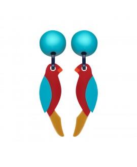 boucles d'oreilles perroquet jaune à clip en résine Marion Godart