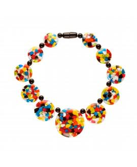 Collier en résine transparente et inclusions multi couleurs Marion Godart