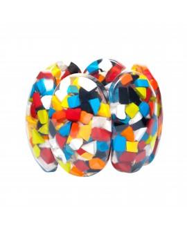 Bracelet élastique confetti en résine transparente et inclusion - Marion Godart