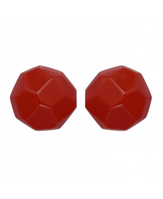 Boucles d'oreilles à clip rouge carmin en résine faceté Pastel - Marion Godart