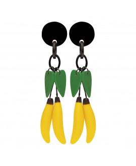 Boucles d'oreilles bananes et feuilles à clip en résine - Marion Godart