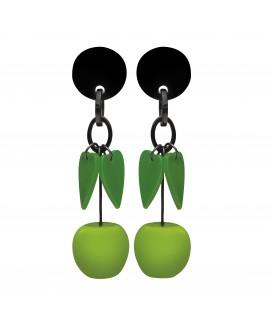 Boucles d'oreilles pommes et feuilles à clip en résine - Marion Godart
