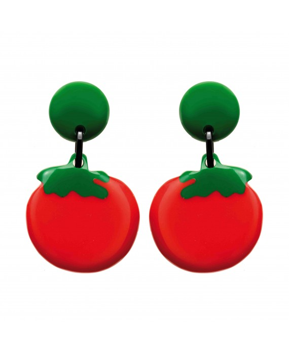 Boucles d'oreilles tomates rondes rouges à clip en résine - Marion Godart