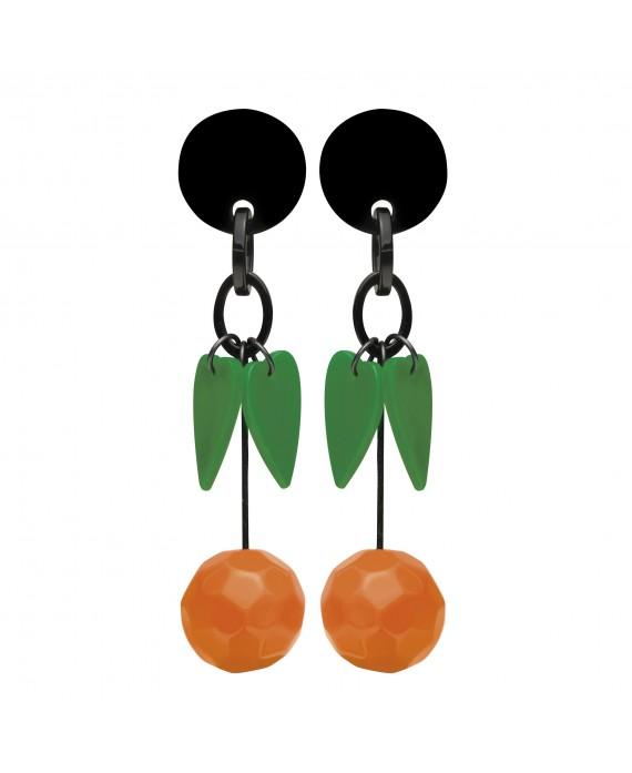 Boucles d'oreilles oranges et feuilles à clip en résine - Marion Godart