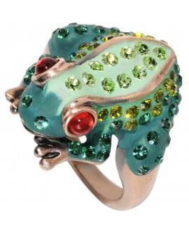 Bague grenouille strass et perle de verre - Marion Godart