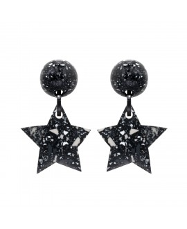Boucles d'oreilles étoile granit noir en résine marion godart