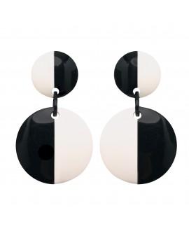 Boucles d'oreilles duo noir et blanc à clip en résine marion godart