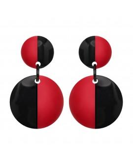 Boucles d'oreilles DUO noir et rouge