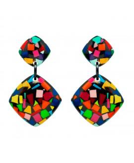 Boucles d'oreilles confetti color en résine marion godart