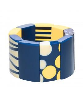 Bracelet Patchwork Bleu en résine marion godart