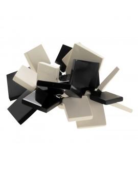Bracelet élastique carré noir et blanc en résine marion godart