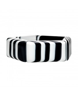 Bracelet fin rayé noir et blanc en résine marion godart