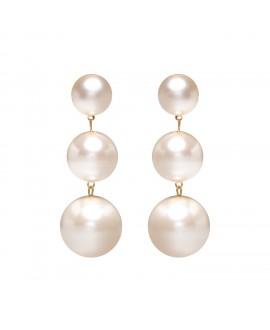 Boucles d'oreilles à clip 3  perles synthétiques marion godart