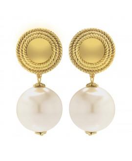 Boucles d'oreilles à clip métal doré et perle synthétique marion godart
