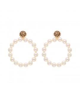 Boucles d'oreilles à clip métal doré et perles synthétiques marion godart