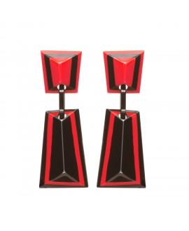 Boucles d'oreilles longues à clip noir et rouge marion godart