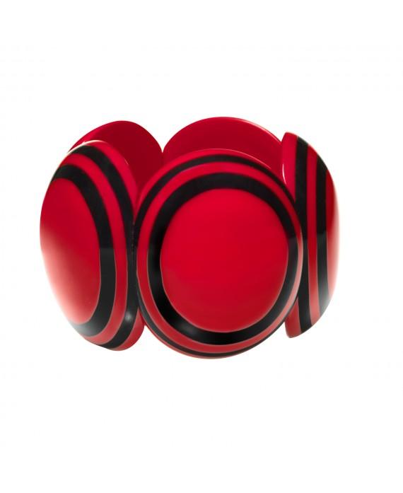Bracelet élastique noir et rouge rond marion godart