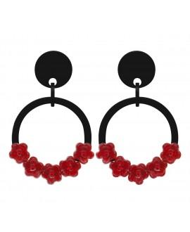 Créoles noires à clip noir et fleurs rouge marion godart
