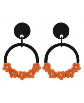 Créoles noires à clip noir et fleurs oranges marion godart