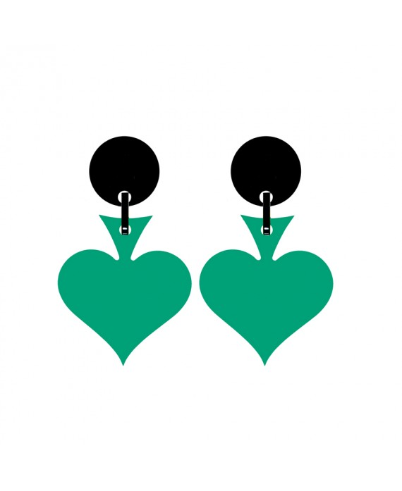 Boucles d'oreilles As de Pique vert en résine à clip marion godart