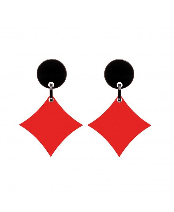 Boucles d'oreilles carreaux rouge en resine  marion godart